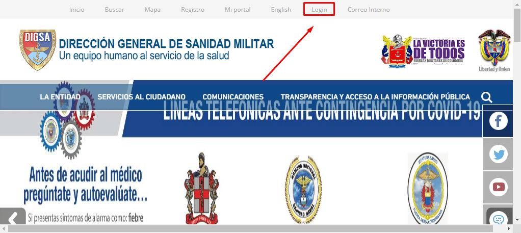 Señalamiento de la opción Login en la página principal de la Dirección General de Sanidad Militar