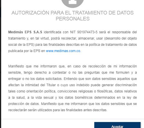 Autorización para el tratamiento de los datos personales,