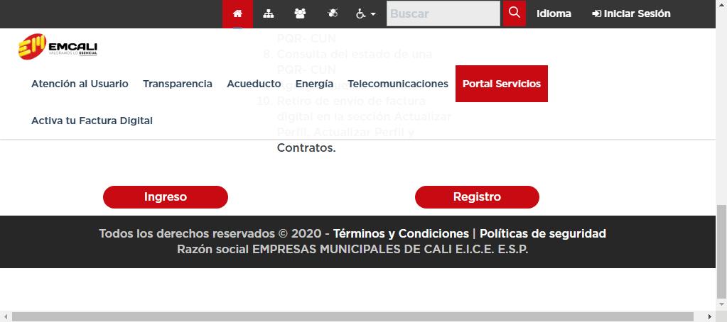 Opciones de ingreso y registro en EMCALI