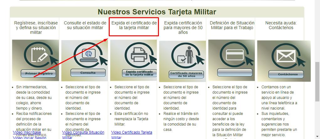 Servicios de Tarjeta Militar